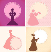 Set of banners with romantic women and round floral frames. Retro design templates in vintage style for cards, labels, gifts — Stock Vector