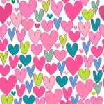 Cute cartoon backdrop with hand drawn hearts. — Stock Vector