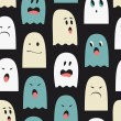 Seamless pattern with cute ghosts. — Stock Vector