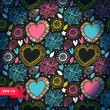 Doodle background with hearts and flowers. — Imagen vectorial