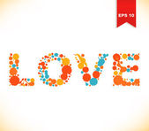 Grunge multicolor kärlek banner. prickade akvarell text — Stockvektor