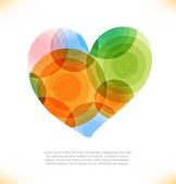 Vector multicolor heart. Love shiny banner. — Stock Vector