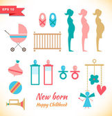 Happy childhood collection — Stock Vector