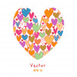 Beauty greeting card with doodle hearts. — Stock Vector #38207581