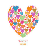 Beauty greeting card with doodle hearts. — Vector de stock