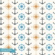 Seamless background with maritime symbols — Stock Vector