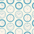 Seamless retro pattern texture with round clocks — Stok Vektör