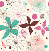 Seamless doodle pattern with drawn flowers — Vector de stock