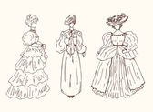 Sketchy vintage women silhouettes. — Stock Vector