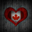 Heart and wood background canada flag — Stock Photo #27953167