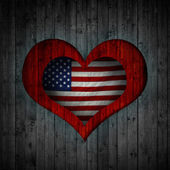 Heart and wood background american flag — Stock Photo