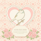 Greeting card with heart shape and bird — Vetorial Stock