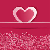 Valentines day card with paper heart. — Stock Vector