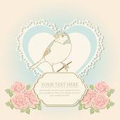 Karty z pozdrowieniami o kształcie serca i ptak — Wektor stockowy