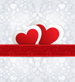 Valentines day card with paper hearts. — Vector de stock