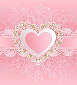 Tarjeta de felicitación con forma de corazón. — Vector de stock