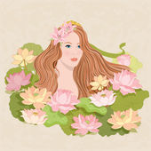 Vector illustration of a girl and flowers — Stock Vector