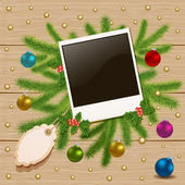 Christmas card with a frame for a photo — Wektor stockowy