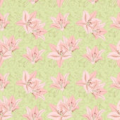 Floral seamless pattern with lily — Stock Vector