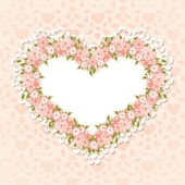 Greeting card with heart shape. Valentine's day Heart of flowers — Stock Vector