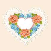 Valentine's day background. Heart of flowers — Stock Vector
