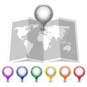 Map icon with multicolored Pin Pointers — Stock Vector