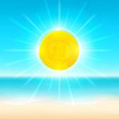 Beach and tropical sea with sun. — Stock Vector