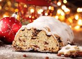 Christmas stollen, cookies and Christmas decorations — Photo