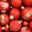 Close up of red Christmas ornaments — Stock Photo #26174381