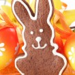 Gingerbread bunny and Easter eggs. — Stock Photo