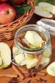 Canning jar with apples and spices — Stock Photo
