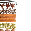 White background with spices border — Stock Photo