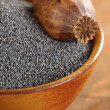 Bowl with poppy seeds and dry poppy pod. — Stock Photo #26363731