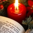 Open Bible and Christmas decorations. — Stock fotografie