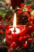 Close up of candle and Christmas decorations. — Stock Photo