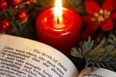 Open Bible and Christmas decorations. — Stock Photo