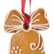 Christmas gingerbread cookie hanging — Stock Photo