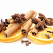 Dry orange slices, cinnamon sticks, anise and clove — Stock Photo #26422897