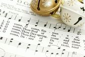 Detail of songbook with Christmas carols — Stock Photo