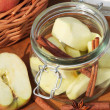 Canning jar with apples and spices — Stock Photo #26457377