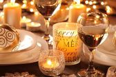 Holiday setting and Christmas decorations — Stock Photo