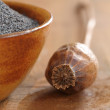 Bowl with poppy seeds and dry poppy pod. — Stock Photo #26657013
