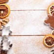 Wooden board with Christmas baking ingredients. — Stock Photo