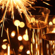 Sparkler and holiday drink. — Stock Photo