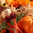 Scarecrow on colorful autumn background — Stock Photo