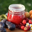 Jar with fresh jam and fruits in the garden — 图库照片