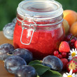 Jar with fresh jam and fruits in the garden — Stock fotografie