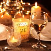 Holiday setting and decorations on table — Stock Photo