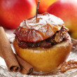 Baked stuffed apple on plate. — Stock Photo
