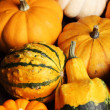 Pumpkins on wooden table. — Stock Photo
